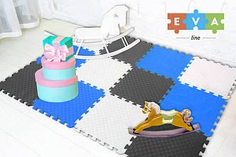 """М'який підлогу килимок-пазл """"Веселка"""" Eva-Line 200*150*1 см Сірий/Білий/Синій"""