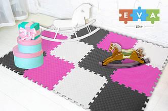 """М'який підлогу килимок-пазл """"Веселка"""" Eva-Line 200*150*1 см Сірий/Білий/Рожевий"""