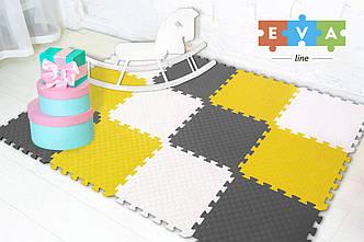"""М'який підлогу килимок-пазл """"Веселка"""" Eva-Line 200*150*1 см Сірий/Білий/Жовтий"""