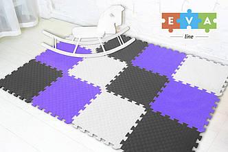 """М'який підлогу килимок-пазл """"Веселка"""" Eva-Line 200*150*1 см Сірий/Білий/Фіолетовий"""