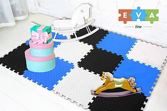 """М'який підлогу килимок-пазл """"Веселка"""" Eva-Line 200*150*1 см Чорний/Білий/Синій"""