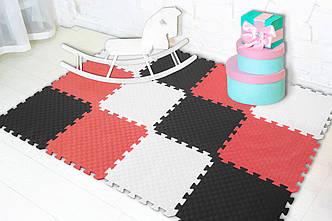 """М'який підлогу килимок-пазл """"Веселка"""" Eva-Line 200*150*1 см Чорний/Білий/Червоний"""