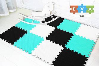 """М'який підлогу килимок-пазл """"Веселка"""" Eva-Line 200*150*1 см Чорний/Білий/Блакитний"""