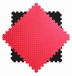 Мат татами 100*100*3 см Eva-Line Extra Quality черный/красный Плетёнка 100 кг/м3 (будо-мат, даянг)