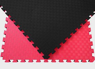 Мат татами 100*100*2 см Eva-Line Extra Quality черный/красный Плетёнка 100 кг/м3 (будо-мат, даянг)