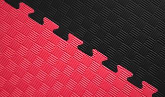 Мат татами 100*100*2.6 см  Eva-Line Extra Quality черный/красный Плетёнка 100 кг/м3 (будо-мат, даянг)