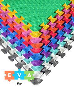 """М'який підлогу килимок-пазл """"Веселка"""" Eva-Line Плетінка (15 пазлів)"""