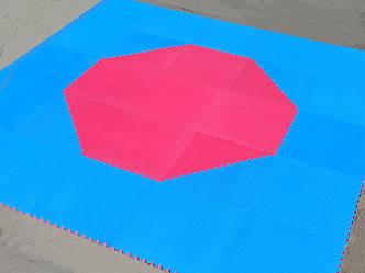 Корт (додянг) восьмиугольный для тхэквондо ВТФ синий/красный (Татами Eva-Line 100*100*2.6 см 144 шт)