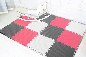 """М'який підлогу килимок-пазл """"Веселка"""" Eva-Line 200*150*1 см Сірий/Білий/Червоний"""