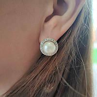 Срібні сережки з перлами Чи, фото 1