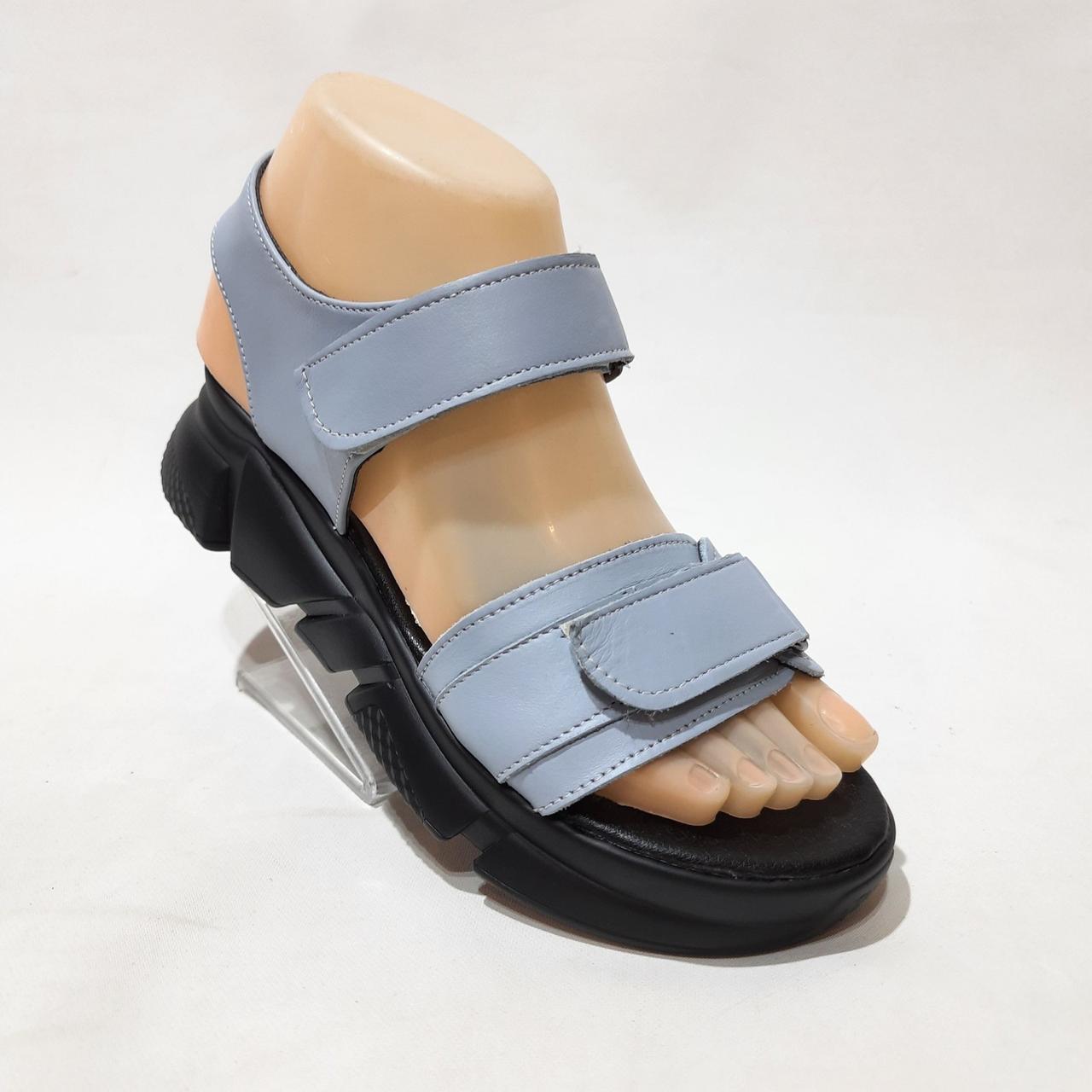 36,37 р. Жіночі сандалі, босоніжки натуральна шкіра на плоскій підошві на липучці Остання пара
