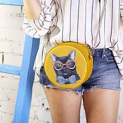Сумка кругла жіноча Tablet Кіт в окулярах (RS_19A026_ZHL)