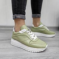 Летние кроссовки с перфорацией оливкового цвета