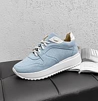 Блакитні замшеві кросівки, фото 1
