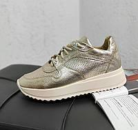 Золотистые кроссовки,из натуральной кожи, фото 1