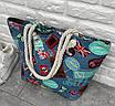 Сумки та аксесуари оптом - 3069-фг - Супер модна жіноча стильна пляжна сумка з гарним принтом, фото 2