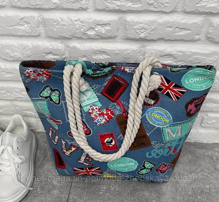 Сумки та аксесуари оптом - 3069-фг - Супер модна жіноча стильна пляжна сумка з гарним принтом