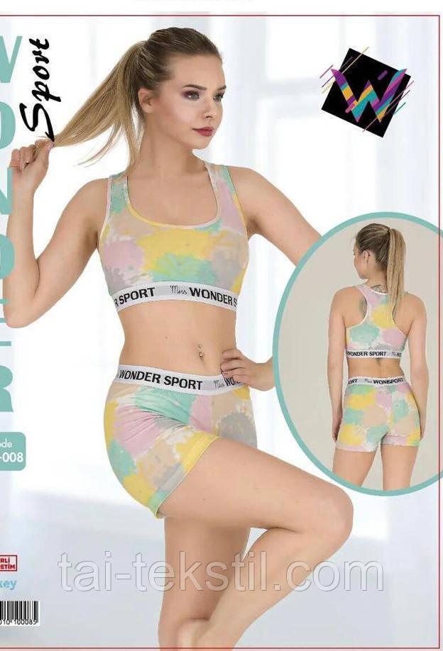 Комплект женский 2-ка топик + шорты спорт качество коттон S-M/L-XL Турция 008