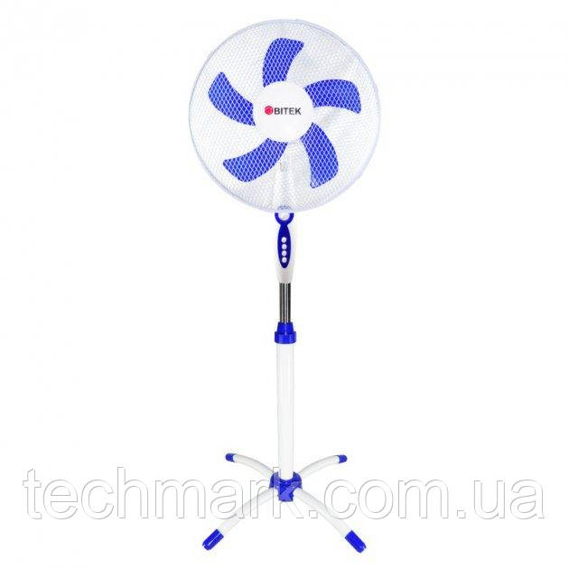 Вентилятор напольный BITEK диаметром 40см 40Вт 5 пластиковых лопастей белый с синим