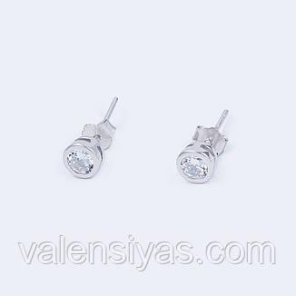 Серебряные серьги-пусеты с фианитом, фото 2