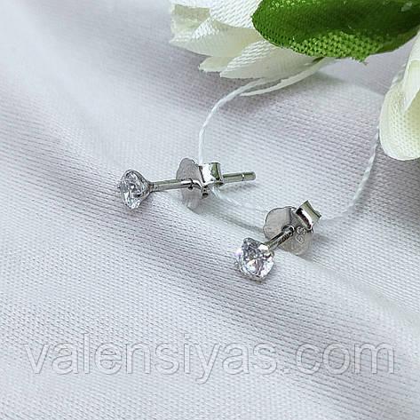 Серьги гвоздики серебряные, фото 2