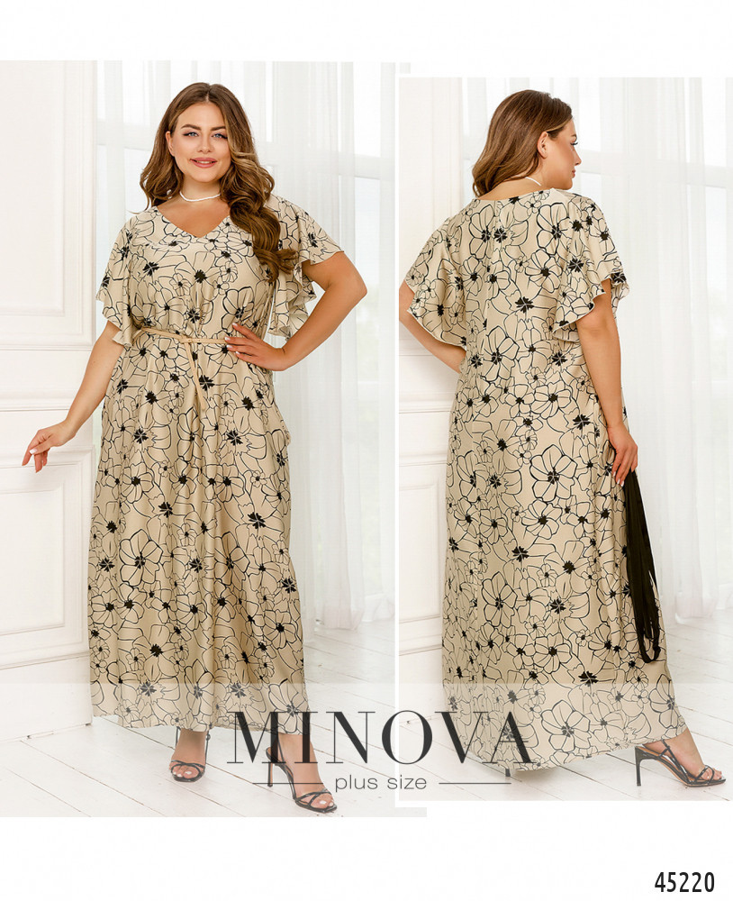 Романтичное струящееся бежевое платье макси большого размера. Размер: 50-52, 54-56, 58-60, 62-64, 66-68