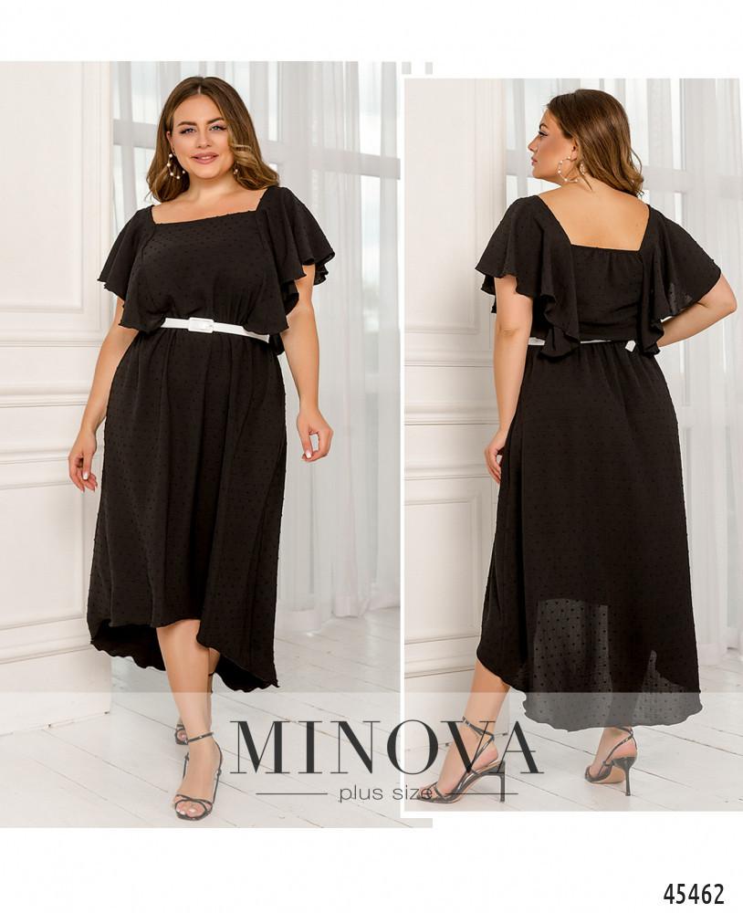 Воздушное летнее черное платье большого размера. Размер: 52-54, 56-58, 60-62, 64-66