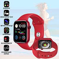 Розумні смарт годинник Smart Watch M16-6S PLUS, 4.4 см-Голосовий дзвінок, фітнес функції, алюмінієвий корпус Red, фото 1