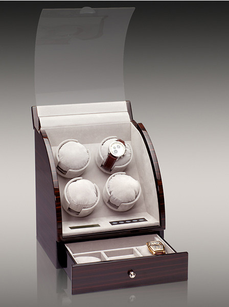 Шкатулка для автоподзавода 4-х часов Rothenschild RS-324-4-E с LCD дисплеем