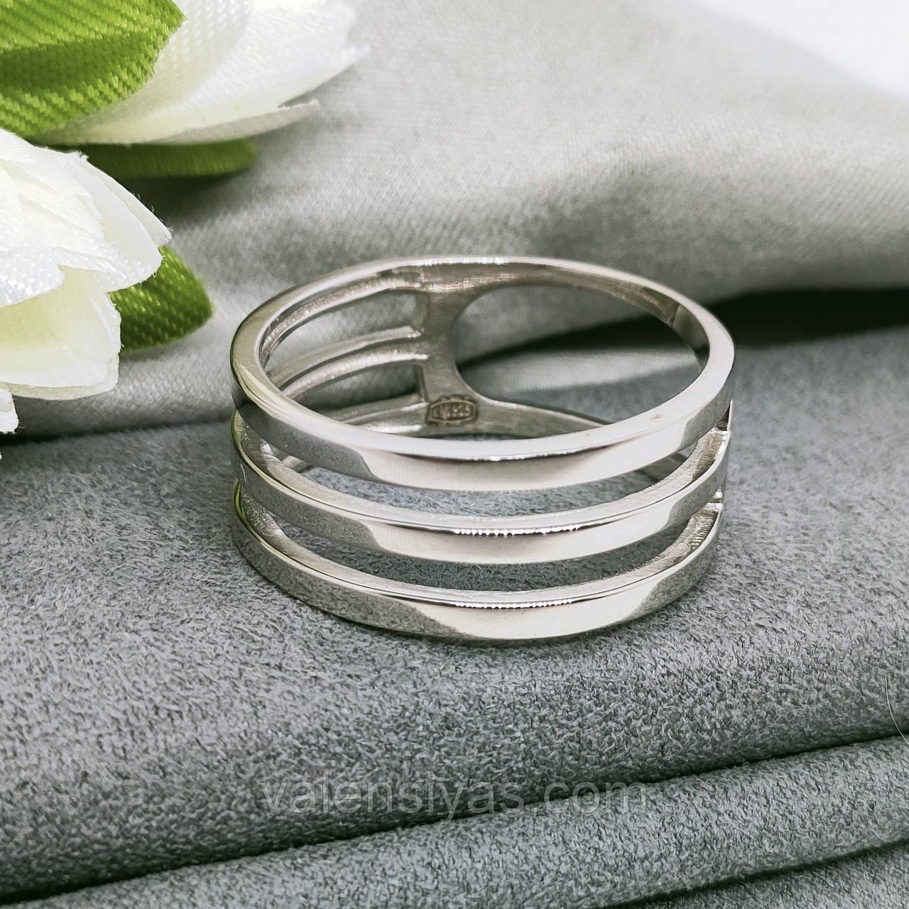 Срібне родированное кільце з круглим фианитом