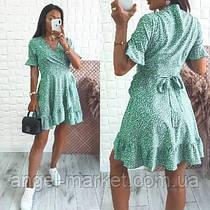 Женское летнее платье на запах в горох новинка 2021