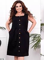 Трикотажное женское платье на пуговицах с квадратным вырезом горловины и карманами 48 по 58 размер, фото 6