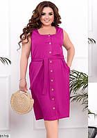 Трикотажное женское платье на пуговицах с квадратным вырезом горловины и карманами 48 по 58 размер, фото 2