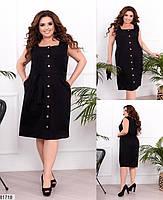 Трикотажное женское платье на пуговицах с квадратным вырезом горловины и карманами 48 по 58 размер, фото 3