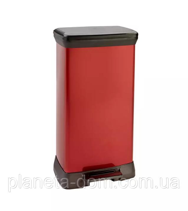 Ведро для мусора Curver Deco Bin педалью 50 литров красное