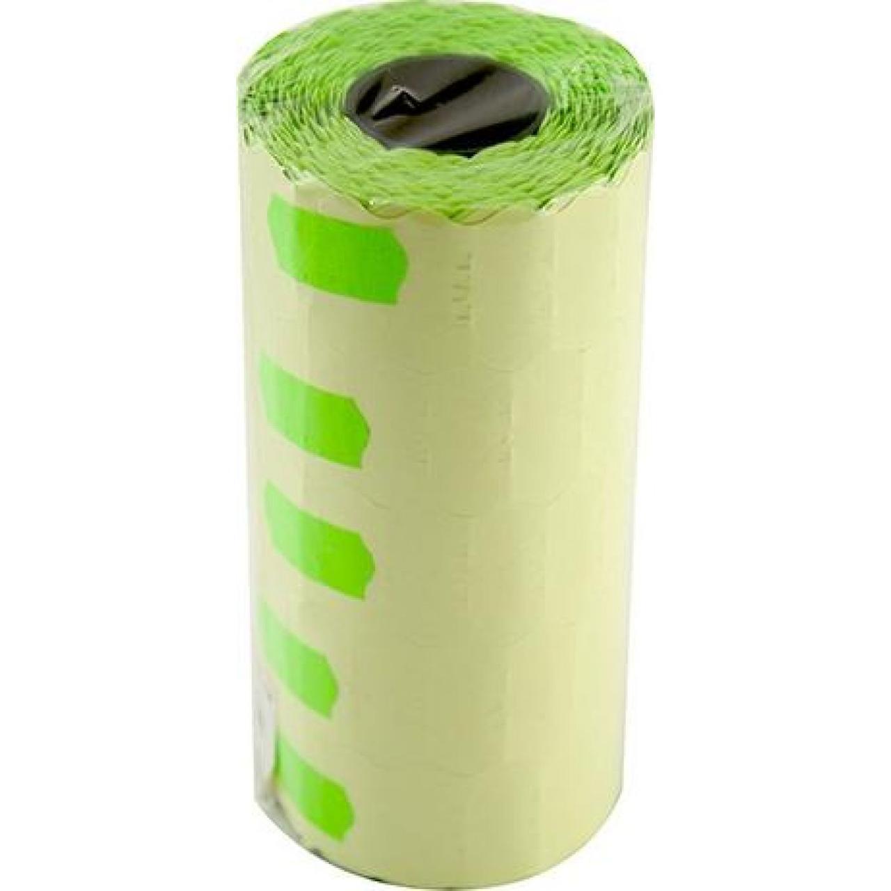 Ценник клейкий в рулоне маленький 15м 12х25мм 1200 шт. зеленый (5) (125)