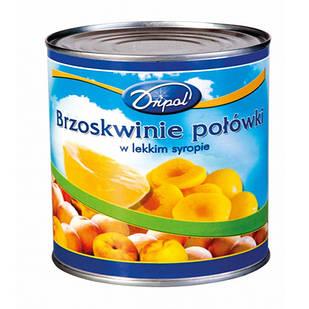 Персики консервовані в сиропі половинками в ж/б Dripol (Польща), 820 г