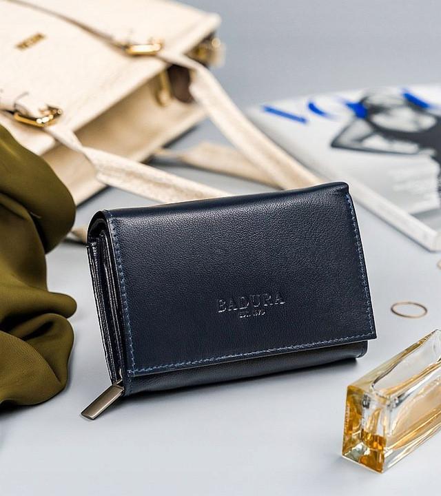 Жіночий шкіряний гаманець Badura з RFID 10 х 13 х 4 (PO_D111GN_CE) - синій