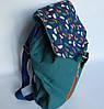 Молодежный текстильный рюкзак на кнопке и завязках, Перья, фото 3