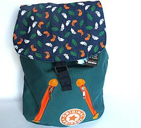 Молодежный текстильный рюкзак на кнопке и завязках, Перья