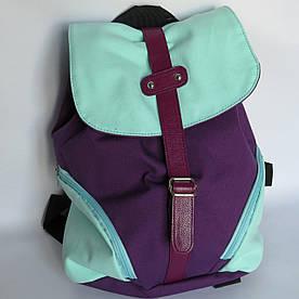 Молодежный текстильный рюкзак на кнопке и завязках, Фиолетовый