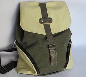 Молодежный текстильный рюкзак на кнопке и завязках, хакки