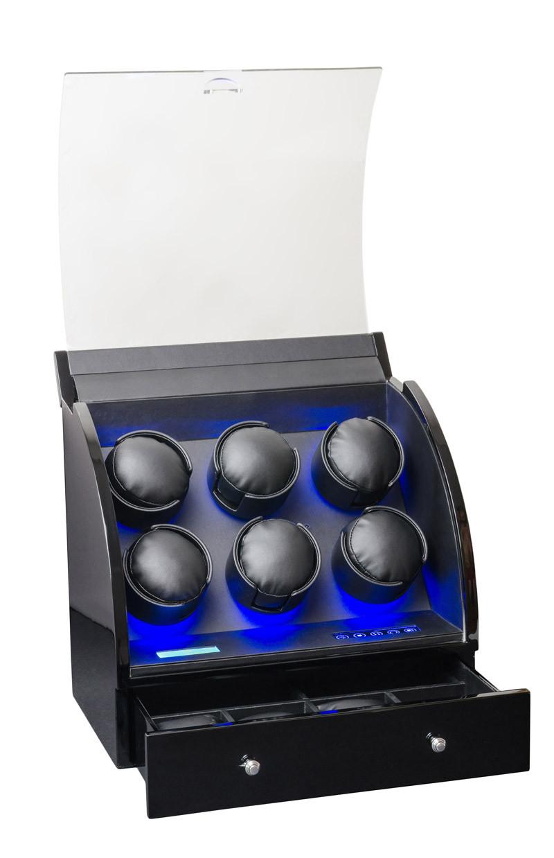 Шкатулка для автоподзавода 6-ти часов Rothenschild RS-326-6-BB с LCD дисплеем