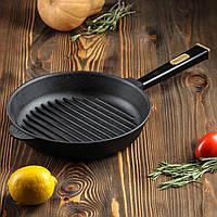 Чугунная сковорода гриль BRIZOLL Optima-Black, 240х40 мм, фото 1