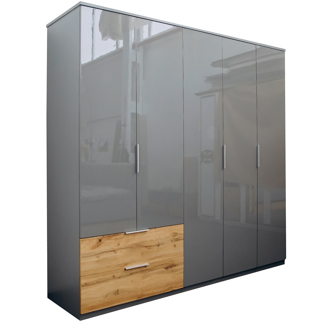 Шафа розпашній в спальню, в передпокій 5-дверний без дзеркал Linz / Лінц Сірий Шифер-Дуб Вотан TM Миро-Марк