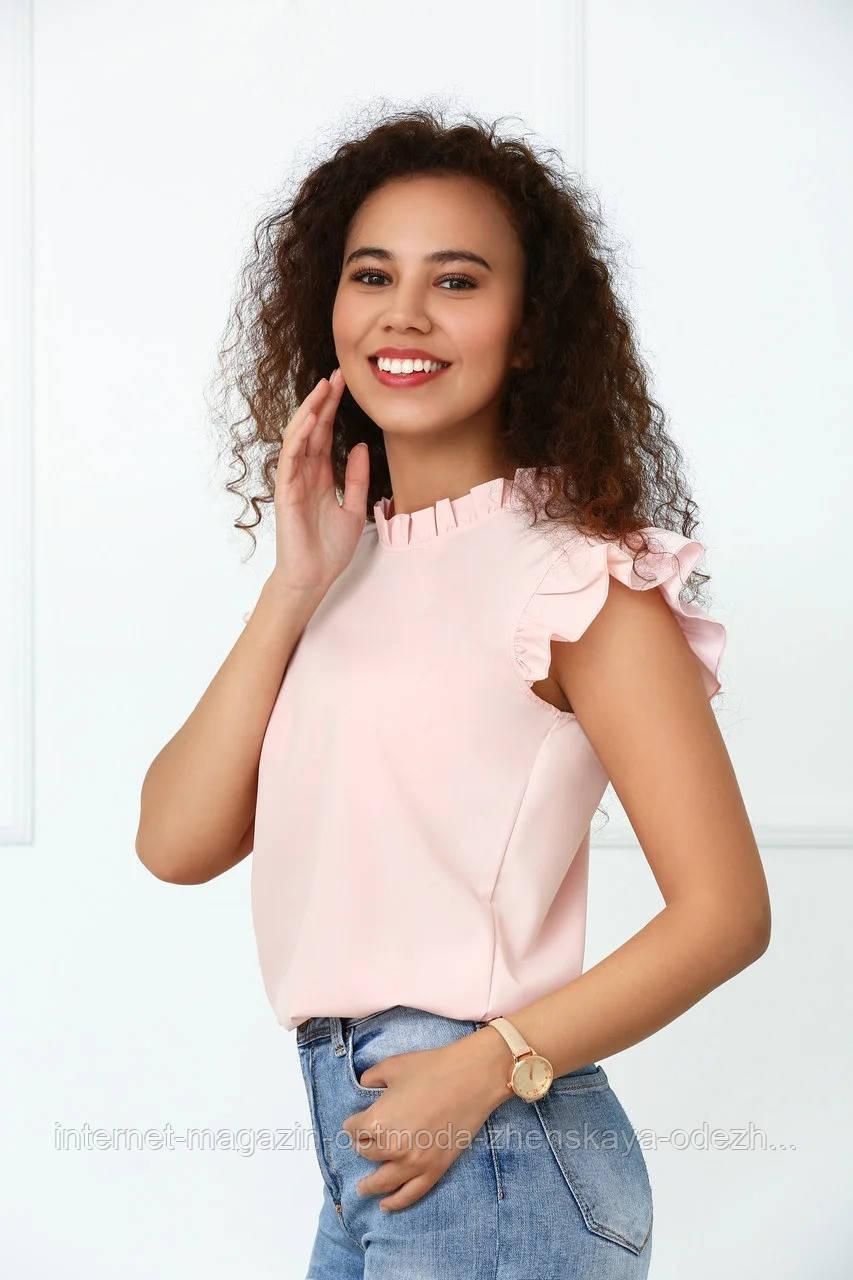 Блузки, сорочки оптом - 4090-фг - Елегантна легка жіноча блуза з рюшами на рукавах і високим вирізом
