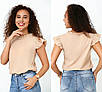 Блузки, сорочки оптом - 4090-фг - Елегантна легка жіноча блуза з рюшами на рукавах і високим вирізом, фото 3