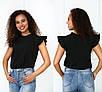Блузки, сорочки оптом - 4090-фг - Елегантна легка жіноча блуза з рюшами на рукавах і високим вирізом, фото 4