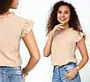 Блузки, сорочки оптом - 4090-фг - Елегантна легка жіноча блуза з рюшами на рукавах і високим вирізом, фото 7