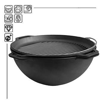КАЗАН ЧАВУННИЙ АЗІАТСЬКИЙ з кришкою-сковородою гриль BRIZOLL 15 літрів з кришкою-сковородою гриль